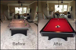 Find out the cost to move a pool table in Columbia